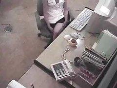Skjult sikkerhet spion cam fanget office jenta onanert