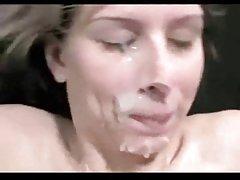 Amatør - søte kone gangbang med bukkake